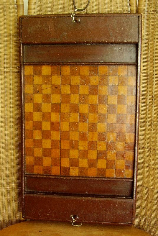 Antique Checkerboard Primitive Original Folk Art Wooden