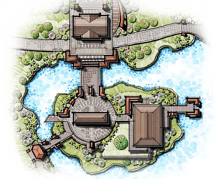 island landscape design, rest house, landscape master plan, show-flat, river side landscape, bridge landscape, gateway