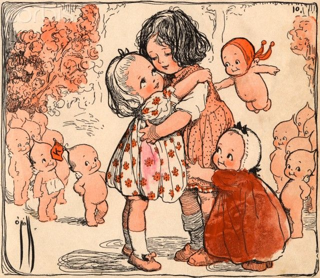 Illustration of Girls and Kewpie Dolls Hugging by Rose O'Neill  A book illustration from The Kewpies, Their Book.