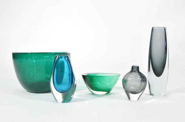 Various mid century glass: Kosta Boda (Sweden) and Hadeland (Norway).