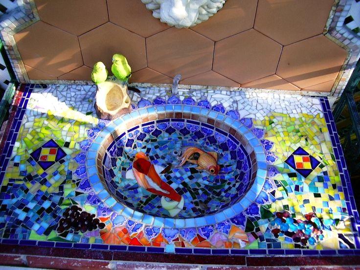 Bathroom Mosaic Tile Art: 96 Best Images About Mosaic Birdbath On Pinterest