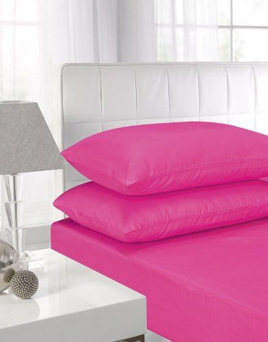 From 9.99 Rohi Easycare 25cm Depth Box Fitted Sheet With Free Two Pillowcases Single Double King Or Super King (double Fitted Sheet & Pillow Cases Fushia (hot Pink))