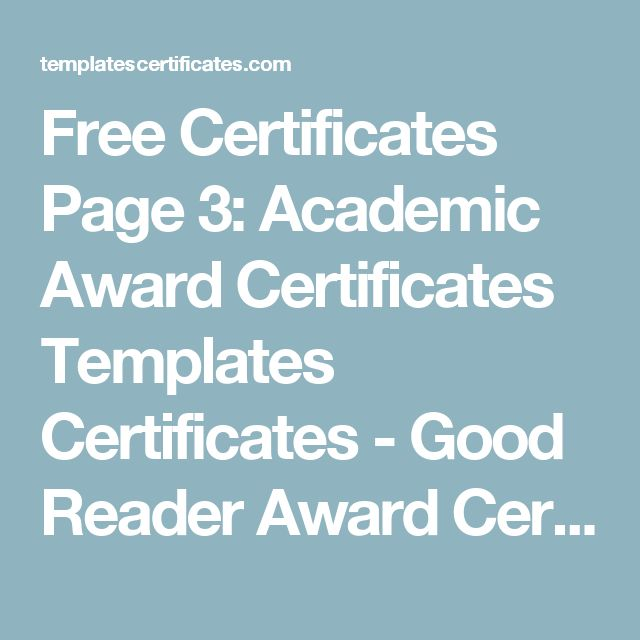 Free Certificates Page 3: Academic Award Certificates Templates Certificates - Good Reader Award Certificate