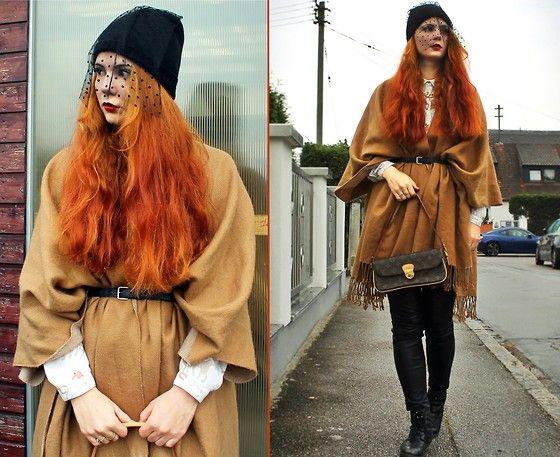 Katharina K. - Miss Selfridge Beanieveil, H&M Poncho, Louis Vuitton Bag, Zara Blouse, H&M Leather Pants, Zign Boots, H&M Waistbelt - Water