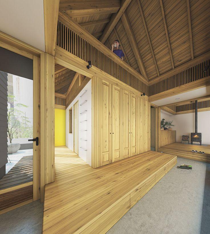 内庭を通してリビング、キッチン、子供部屋が一望でき、のびやかな空間になるように工夫しました。
