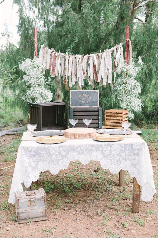 rustic diy dessert table #weddingreception #diy #weddingchicks http://www.weddingchicks.com/2014/02/20/casual-elegance-wedding-for-under-7k/