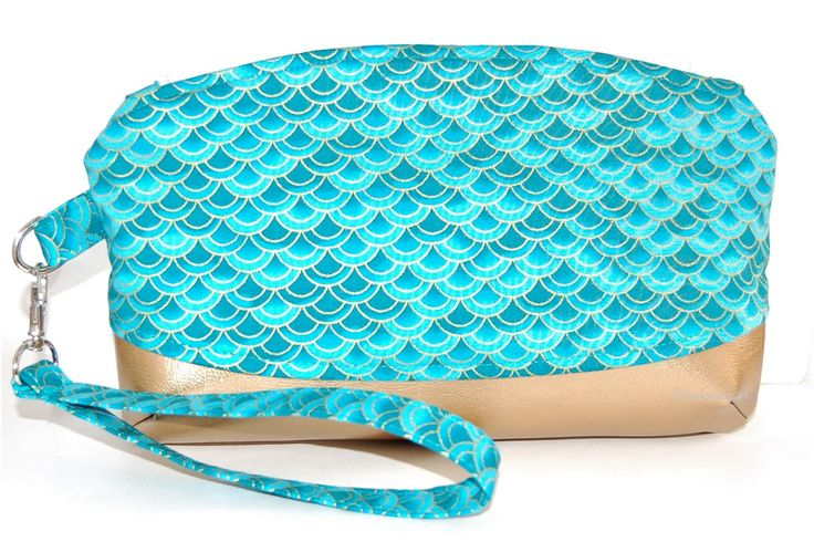 Mermaid Scales Wristlet Purse - Dragon Scales, Aqua and Gold, Fantasy Creatures, Metallic Fabric, Gold Faux Leather, Japanese Cotton Fabric by SushiGirl on Etsy