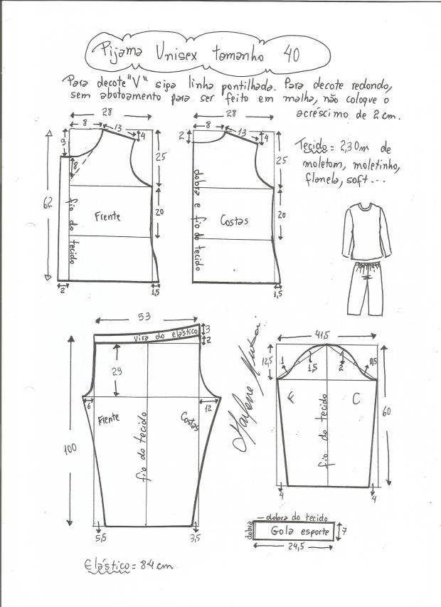 Patrón de Pijama Unisex | costura | Sewing, Clothes y Unisex