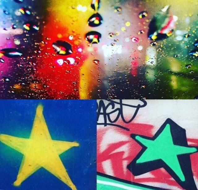 Photomashup Rainynight/carlight Chichester, spray-can stars/streetart/graffiti Brighton photos by Lizzie Reakes