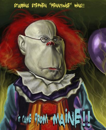 """Stephen King as Pennywise the Clown from """"It""""."""