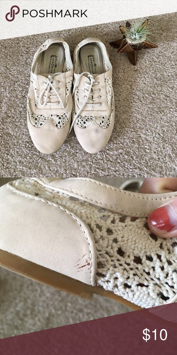 Aphorism NEAT Lace Oxfords, 7.5M These darling and lightweight shoes will have you adventuring everywhere this summer. Lightly worn, still in good condition. Sold as is, scuffs shown in photos. Aphorism Shoes Flats & Loafers