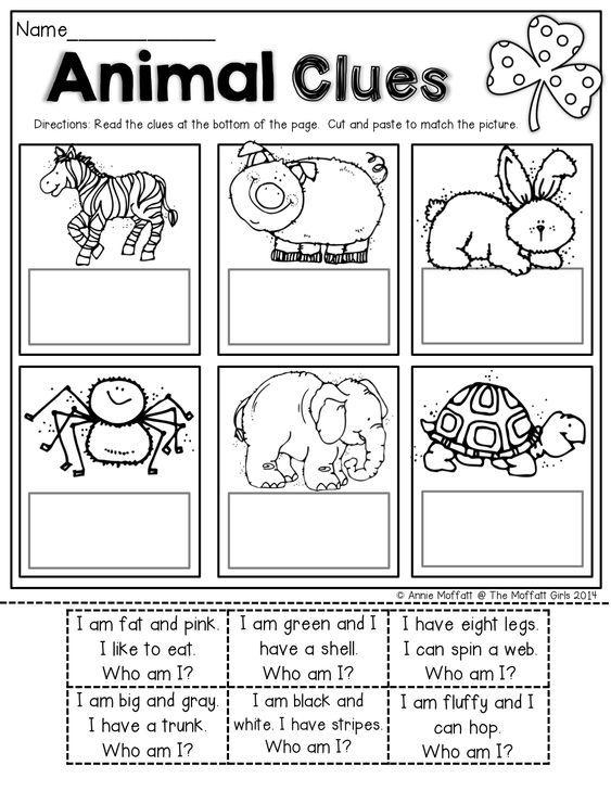 animal clues reading riddles kindergarten reading. Black Bedroom Furniture Sets. Home Design Ideas