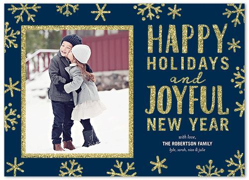 Sparkling Snowflake Frame Holiday Card, Square Corners, Blue