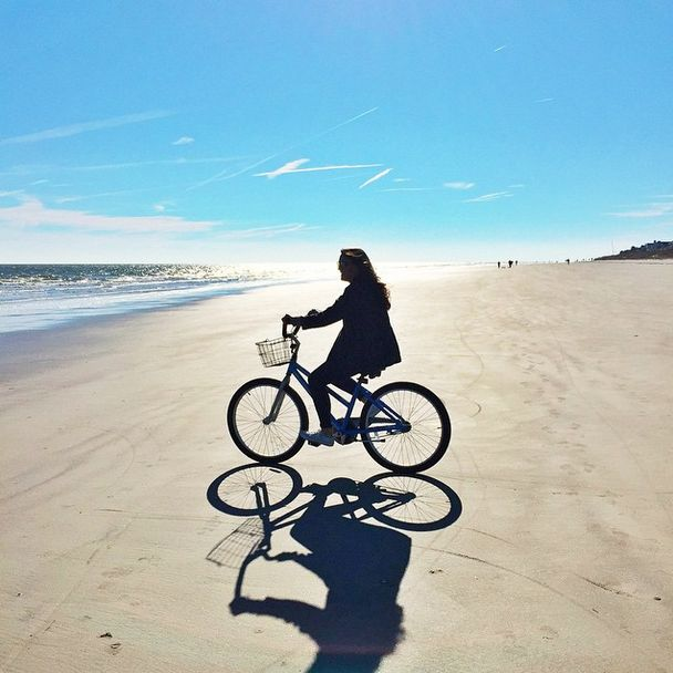 Biking on the beach in Hilton Head.