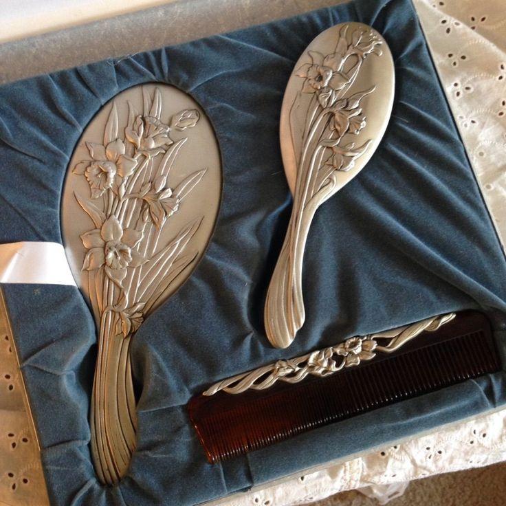 Vintage Pewter Vanity SET BY Seagull Brush Comb Mirror Collectible Vanity SET | eBay