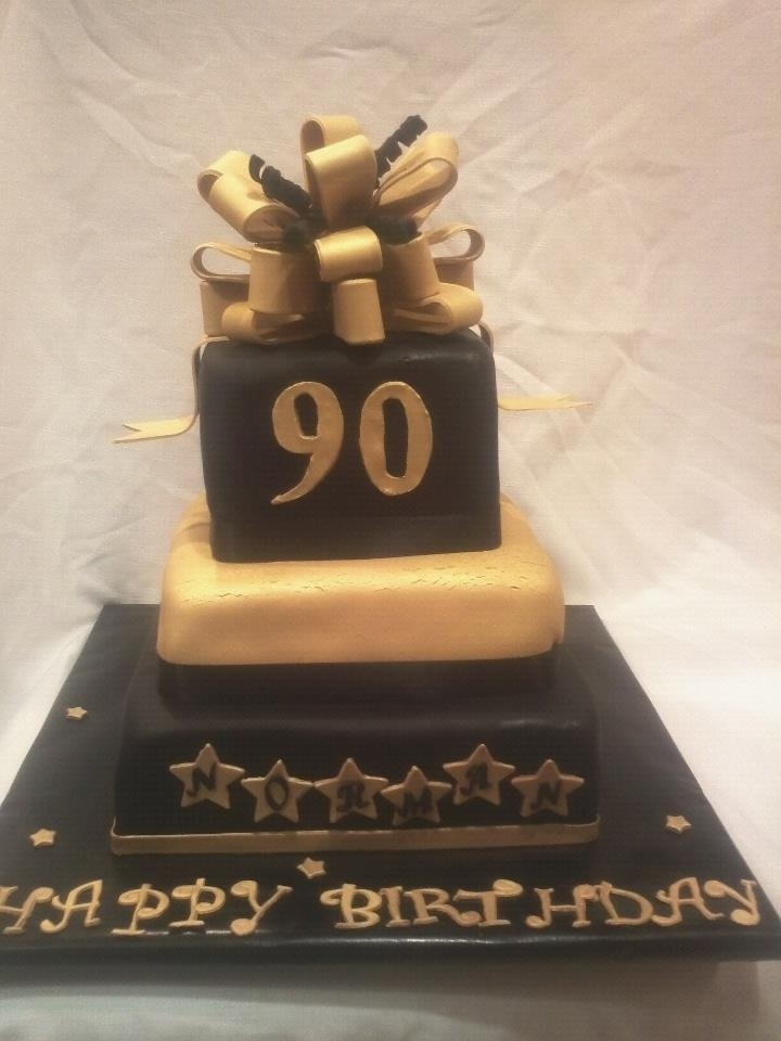 Black And Gold 90th Birthday Cake