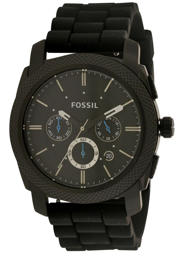 Fossil FS4487 Men's Black Rubber 45MM Quartz Analog Chronograph Watch