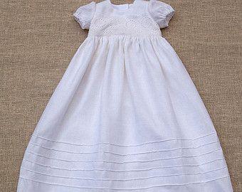 Bambino ragazza battesimo abito in lino cimelio Abito di Graccia