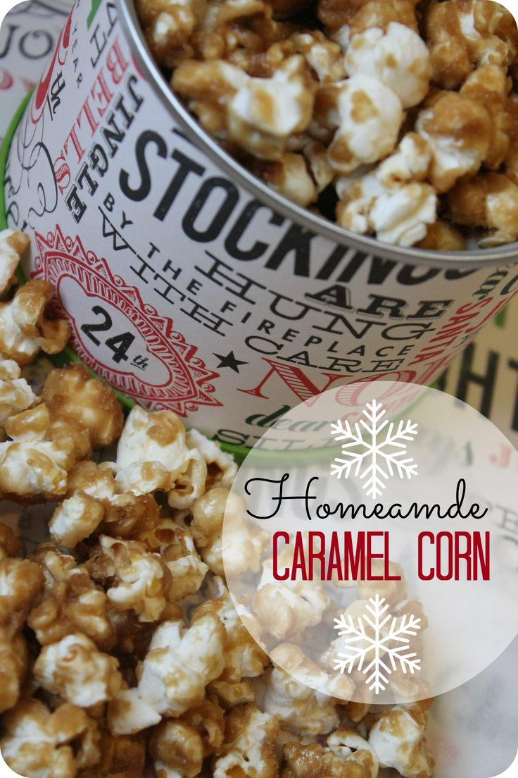 This is SO Easy to Make! Homemade Caramel Corn Recipe! You can even package this in a Tin from Hobby Lobby for an adorable Gift Idea for Co-Workers, Neighbors & more!