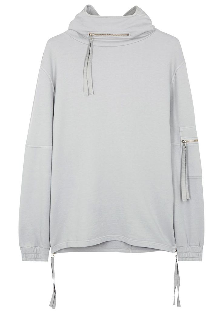 Exclusive to Harvey Nichols Blood Brother grey sweatshirt Hood with zipped front pocket, dropped shoulders, zippedsleeve pocket, elasticated cuffs,zipped sides Slips on 100% cotton