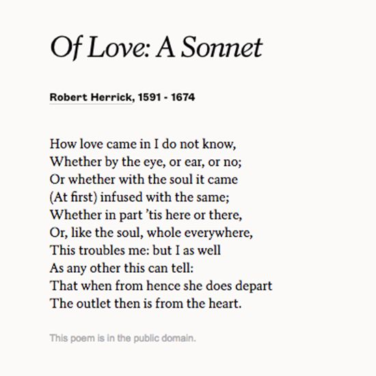 Read Of Love A Sonnet By Robert Herrick To Celebrate
