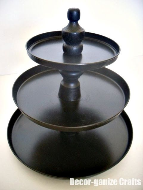 Tiered display made from dollar store stove burner covers