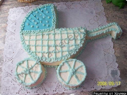 Торт новорожденному Детская коляска