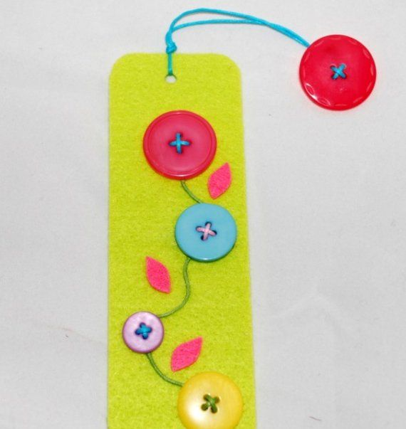Felt and button bookmark.                                     Gloucestershire Resource Centre http://www.grcltd.org/scrapstore/