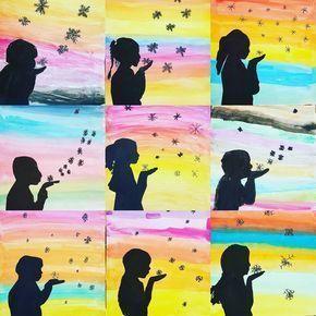 Auf besonderen Wunsch einer jungen Dame nochmal die restlichen Schneeflockenpustebilder #ideenfürdenkunstunterricht#kunstunterricht#grundschulalltag#grundschule#grundschulideen#
