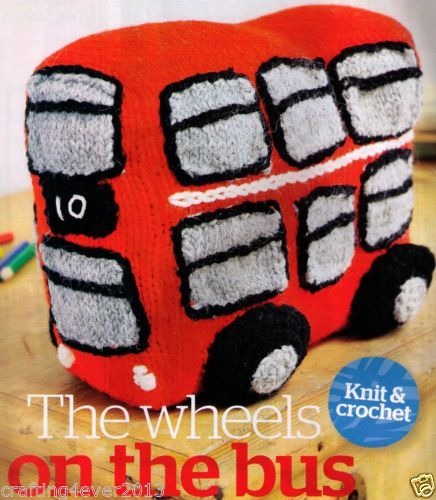 LONDON DOUBLE DECKER BUS WHEELS ON THE BUS GREAT FOR GIFT- 8PLY KNITTING PATTERN