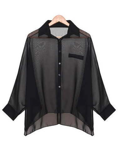 #SheInside Black Batwing Sleeve Sheer Asymmetrical Chiffon Blouse