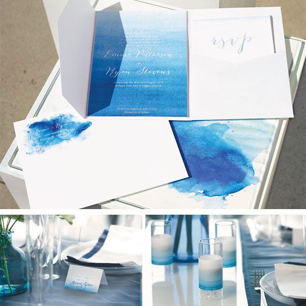 Aqueous Wedding Stationery Aqua Blue Collection