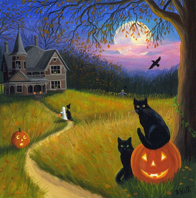 halloween haunted house painting | ... Ghost Haunted House Ravens Moon Halloween Original Painting | eBay