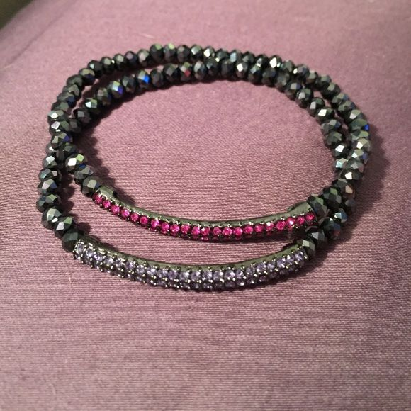"Lia Sophia set of 2 bracelet Lia Sophia ""supersonic"" glass and cut crystal stretch beaded bracelets, set of 2, never worn Lia Sophia Jewelry Bracelets"