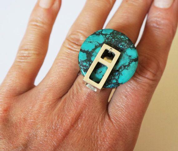 Handmade Turquoise Sterling Silver Ring 18g by HandmadeArtDesign