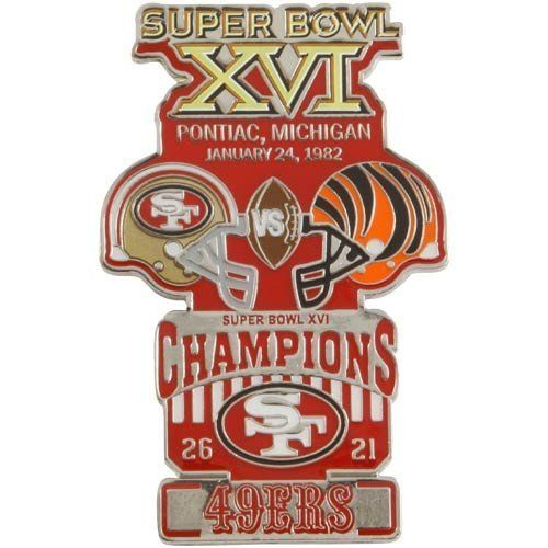"NFL San Francisco 49ers Super Bowl XVI Collectors Pin by Football Fanatics. $14.95. High-quality team graphics. Officially licensed NFL product. Imported. San Francisco 49ers Super Bowl XVI Collectors PinOfficially licensed NFL productImportedHigh-quality team graphicsApproximately 2"" x 3""Approximately 2"" x 3""High-quality team graphicsImportedOfficially licensed NFL product"