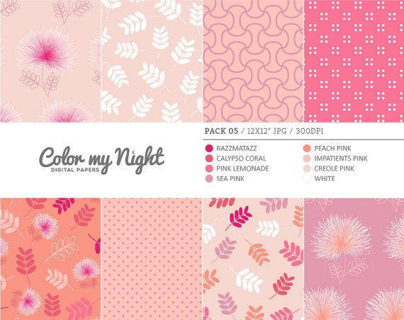 Digital Paper Pink 'Pack05' Flowers Leaves Dots & by ColorMyNight