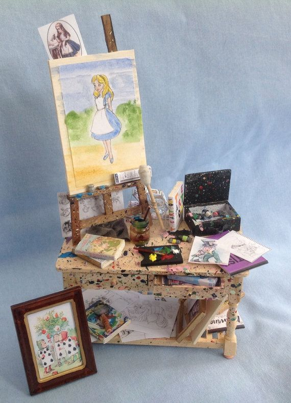 Dolls House Miniatures - Artist's Table (Alice In Wonderland white themed) on Etsy, $130.00