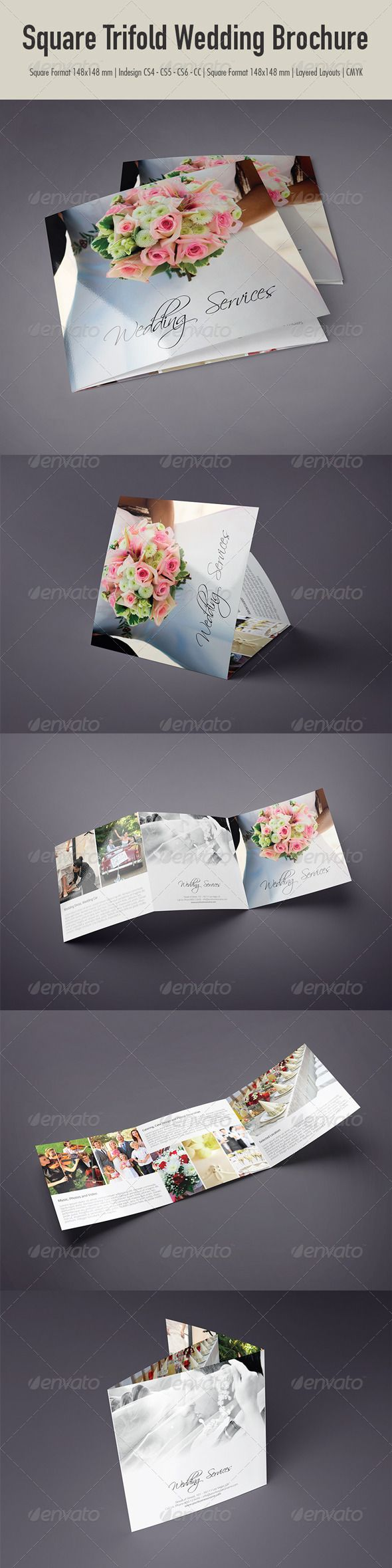 InDesign Square Trifold Wedding Brochure  Template • Only available here ➝ http://graphicriver.net/item/square-trifold-wedding-brochure/7406343?ref=pxcr