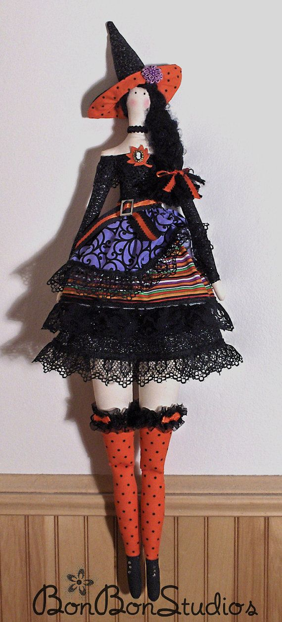 Roweena ~ 29 Inch OOAK Tilda-Style Cloth Halloween Witch Art Doll. Ready for Posing or Hanging