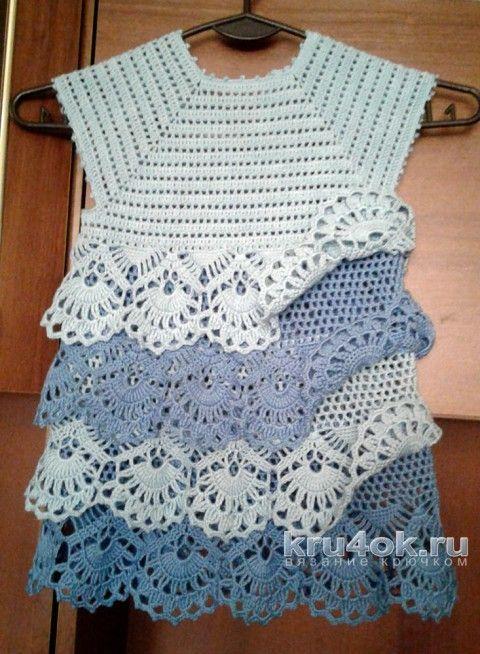 Детское платье крючком. Работа Юлии вязание и схемы вязания