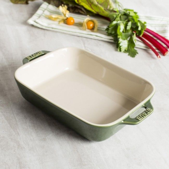 Staub stoneware bakers distribute and hold heat gently and won't absorb moisture, so foods bake to a moist, tender, golden finish without drying out. And you can take them from freezer to oven to table with ease.