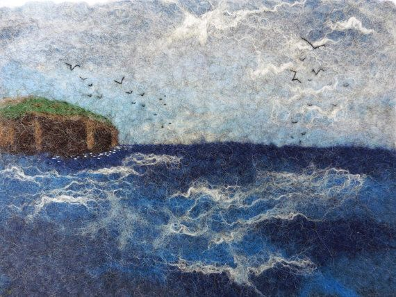 Gulls Over The Headland - small handfelted wallhanging by Deborah Iden.  See more by LittleDeb on Facebook, Folksy and Etsy.