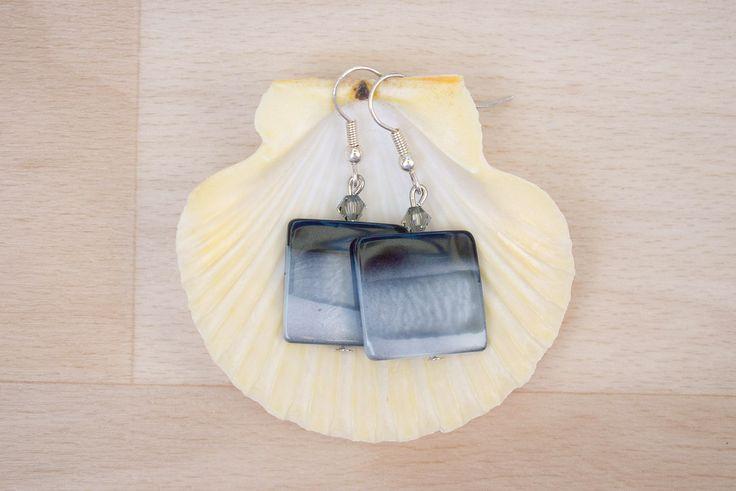 Square Seashell Earrings - Ombre Earrings - Sea Shell Jewelry - Multicolor Earrings - Natural Jewelry - Dangle Earrings - Shell Jewelry by SkadiJewelry on Etsy