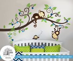 Boy Jungle Monkey Wall Decal with one owl for nursery decor.Monkeys Tree branch wall decal - d559a - Wall's Tale Wall Decals - Turkey