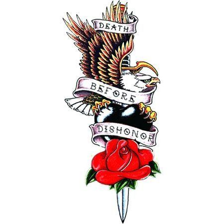 Death Before Dishonor Tattoo by Raven. $1.50. Temporary Tattoo. In Stock. 1.5x3.25. This tattoo image has the United States Navy motto and symbol of a bald eagle on a black heart above a red rose, all entwined around a sword with a banner with the wording.. Save 50%!