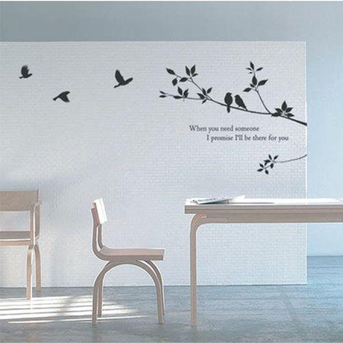 木と鳥のウォールステッカー