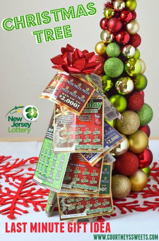 NJ Lottery Tickets Christmas Tree Gift Idea. Talk about a WINNING gift idea! You'll love this gift idea and so will the recipient, they could win big! #NewJerseyLottery #NJLotteryHoliday