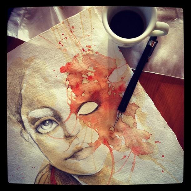 Erica Calardo doodling with espresso  http://www.popandbaroque.com  http://www.facebook.com/popsurrealists