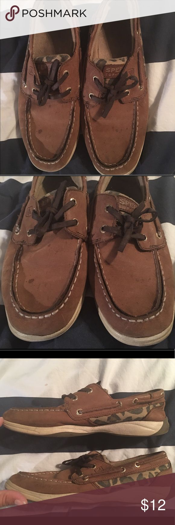 Sperry Topsider leopard print shoes Adorable leopard print sperry topsiders. A couple small spot as pictured and some wear on the sole but otherwise in amazing condition. Sperry Top-Sider Shoes